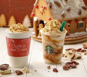 """【11月1日(火)発売】スターバックスコーヒー(Starbucks Coffee)から""""スノー ピーカン ナッツフラペチーノとラテ""""が発売!"""