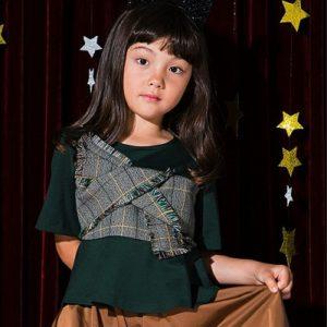 タイムセール中!【YUKINA×'PALINKA】KIDS チェックツイードビスチェ切替トップス